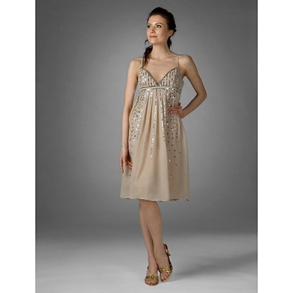 Cocktail Party Dress - Champagne Plus Sizes / Petite Sheath/Column V-neck / Spaghetti Straps Knee-length Chiffon Special Occasion Dresses