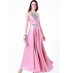 Formal Evening Dress Blushing Pink Plus Sizes Petite A Line Jewel Floor Length Charmeuse