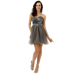 Cocktail Party Dress Silver A Line Strapless Short Mini Tulle