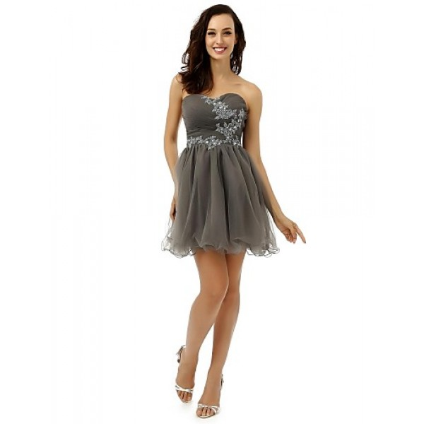 Cocktail Party Dress - Silver A-line Strapless Short/Mini Tulle Special Occasion Dresses