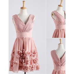 Cocktail Party Dress Blushing Pink A Line V Neck Knee Length Chiffon