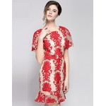 Cocktail Party Dress - Fuchsia Ball Gown Jewel Knee-length Polyester / Rayon Special Occasion Dresses