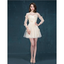 Cocktail Party Dress Champagne A Line Jewel Short Mini Tulle
