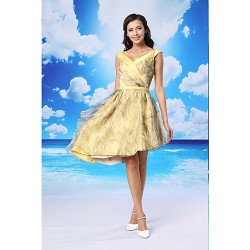 Cocktail Party Dress - Daffodil A-line V-neck Asymmetrical Organza / Satin