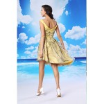 Cocktail Party Dress - Daffodil A-line V-neck Asymmetrical Organza / Satin Special Occasion Dresses