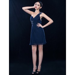 Wedding Party / Cocktail Party / Homecoming Dress - Dark Navy Plus Sizes / Petite A-line One Shoulder Knee-length Chiffon