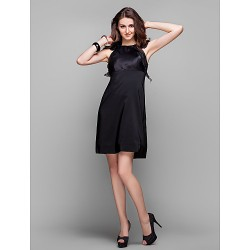 Cocktail Party Holiday Prom Dress Black Plus Sizes Petite Sheath Column Jewel Knee Length Organza Stretch Satin