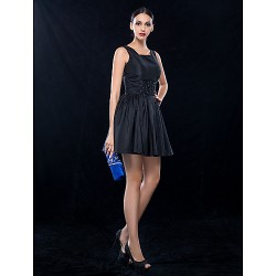 Cocktail Party / Wedding Party Dress - Black Plus Sizes / Petite A-line Square Short/Mini Taffeta