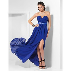 Formal Evening Dress - Royal Blue Plus Sizes / Petite Sheath/Column Strapless / Sweetheart Floor-length Chiffon / Stretch Satin