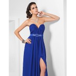 TS Couture Formal Evening Dress - Royal Blue Plus Sizes / Petite Sheath/Column Strapless / Sweetheart Floor-length Chiffon / Stretch Satin Special Occasion Dresses