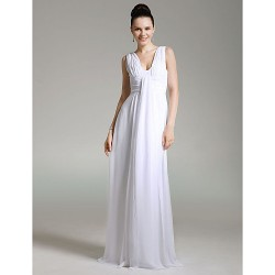 Formal Evening Military Ball Dress White Plus Sizes Petite Sheath Column V Neck Floor Length Chiffon