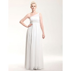Formal Evening / Military Ball Dress - Ivory Plus Sizes / Petite Sheath/Column One Shoulder Floor-length Chiffon