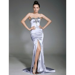Formal Evening Dress - Silver Plus Sizes / Petite Sheath/Column Strapless / Sweetheart Sweep/Brush Train Stretch Satin