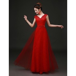 Formal Evening Dress Ruby Plus Sizes A Line V Neck Floor Length Tulle Lace