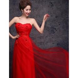 Formal Evening Dress Ruby Plus Sizes Sheath Column Sweetheart Floor Length Tulle