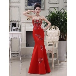 Formal Evening Dress - Ruby Plus Sizes Trumpet/Mermaid Strapless Floor-length Satin