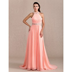 Formal Evening Prom Military Ball Dress Watermelon Plus Sizes Petite Sheath Column Halter Court Train Chiffon
