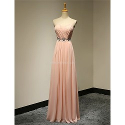 Formal Evening Dress - Pearl Pink Plus Sizes / Petite A-line Strapless Floor-length Chiffon