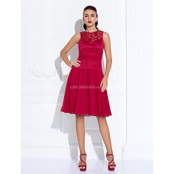 Cocktail Party Holiday Dress Ruby Plus Sizes Petite A Line Jewel Knee Length Chiffon Lace