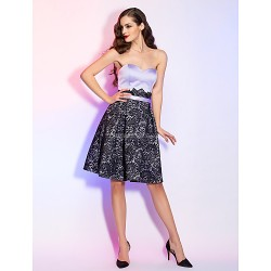 Cocktail Party / Holiday Dress - Lavender Plus Sizes / Petite A-line Sweetheart Knee-length Satin / Lace
