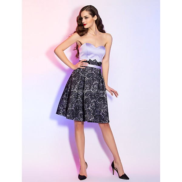 TS Couture Cocktail Party / Holiday Dress - Lavender Plus Sizes / Petite A-line Sweetheart Knee-length Satin / Lace Special Occasion Dresses