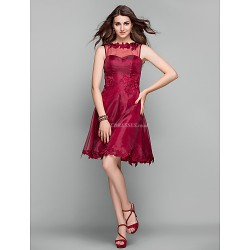 Cocktail Party Holiday Prom Dress Burgundy Plus Sizes Petite A Line Jewel Knee Length Organza