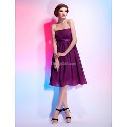 Cocktail Party Dress Grape Plus Sizes Petite A Line Princess Strapless Knee Length Chiffon Stretch Satin