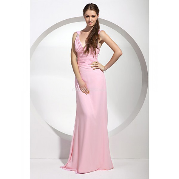 Military Ball / Formal Evening / Wedding Party Dress - Blushing Pink Plus Sizes / Petite Sheath/Column Straps / V-neck Floor-length Special Occasion Dresses