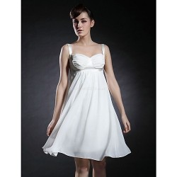 Cocktail Party Graduation Dress Ivory Plus Sizes Petite A Line Princess Straps Sweetheart Knee Length Chiffon Stretch Satin