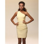 Cocktail Party Dress - Daffodil Plus Sizes / Petite Sheath/Column One Shoulder Short/Mini Stretch Satin Special Occasion Dresses