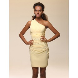 Cocktail Party Dress - Daffodil Plus Sizes / Petite Sheath/Column One Shoulder Short/Mini Stretch Satin