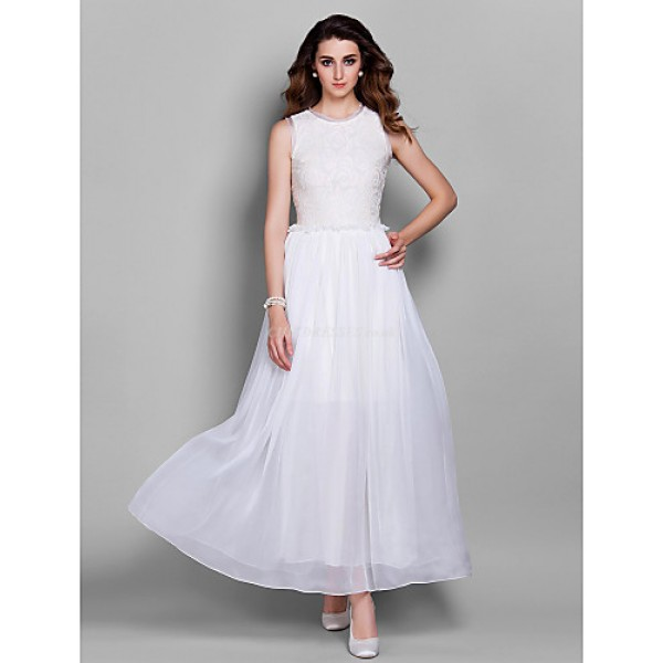Prom / Military Ball / Formal Evening Dress - White Plus Sizes / Petite Sheath/Column Jewel Ankle-length Chiffon / Lace Special Occasion Dresses