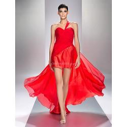 Formal Evening Prom Military Ball Dress Ruby Plus Sizes Petite Sheath Column One Shoulder Asymmetrical Chiffon