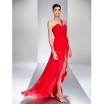 Formal Evening / Prom / Military Ball Dress - Ruby Plus Sizes / Petite Sheath/Column One Shoulder Asymmetrical Chiffon Special Occasion Dresses