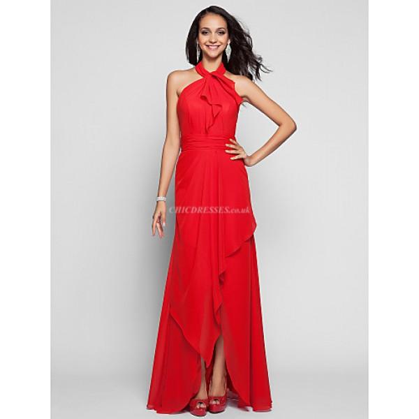 Formal Evening / Prom / Military Ball Dress - Ruby Plus Sizes / Petite A-line / Princess Halter Asymmetrical Chiffon Special Occasion Dresses