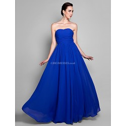 Formal Evening Prom Military Ball Dress Royal Blue Plus Sizes Petite A Line Sweetheart Ankle Length Chiffon