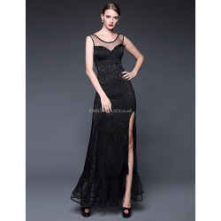 Formal Evening Dress Daffodil Ruby Dark Navy Ivory A Line Scoop Floor Length Lace Jersey