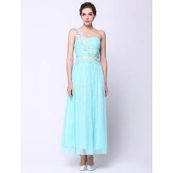 Formal Evening Dress Sky Blue A Line One Shoulder Ankle Length Chiffon