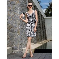 Cocktail Party Holiday Prom Dress Print Plus Sizes Petite Sheath Column V Neck Knee Length Chiffon