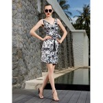 TS Couture Cocktail Party / Holiday / Prom Dress - Print Plus Sizes / Petite Sheath/Column V-neck Knee-length Chiffon Special Occasion Dresses