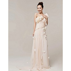 Formal Evening Dress - Champagne A-line One Shoulder Floor-length Nylon Taffeta
