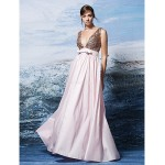 Formal Evening Dress - Blushing Pink Plus Sizes / Petite A-line V-neck Floor-length Sequined / Polyester Special Occasion Dresses