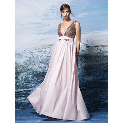 Formal Evening Dress Blushing Pink Plus Sizes Petite A Line V Neck Floor Length Sequined Polyester