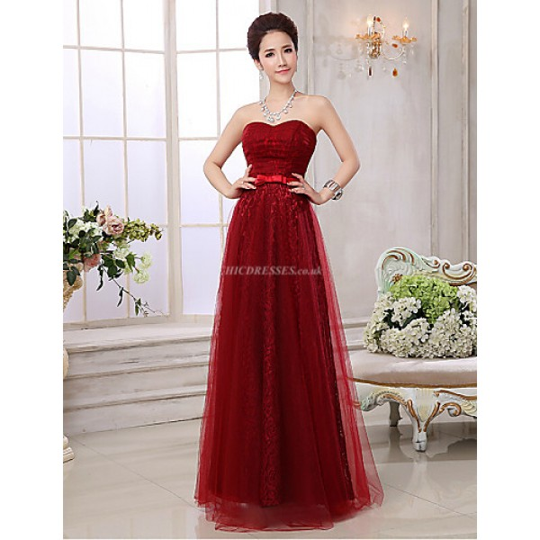 Formal Evening Dress - Burgundy Plus Sizes A-line Sweetheart Floor-length Lace / Tulle Special Occasion Dresses