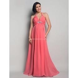 Formal Evening Wedding Party Dress Watermelon Maternity Sheath Column Halter Floor Length Chiffon