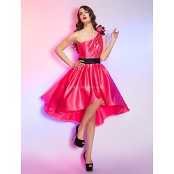 Cocktail Party Homecoming Holiday Dress Watermelon Plus Sizes Petite A Line One Shoulder Asymmetrical Satin
