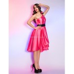 Cocktail Party / Homecoming / Holiday Dress - Watermelon Plus Sizes / Petite A-line One Shoulder Asymmetrical Satin Special Occasion Dresses