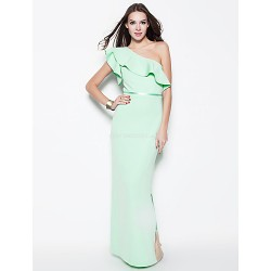 Formal Evening Dress - Sage Plus Sizes / Petite Sheath/Column One Shoulder Floor-length Cotton