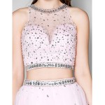 Cocktail Party Dress - Candy Pink Plus Sizes / Petite Ball Gown Jewel Short/Mini Tulle Special Occasion Dresses