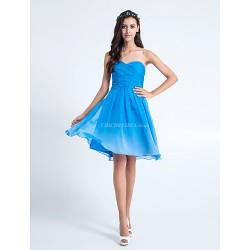 Knee-length Chiffon Bridesmaid Dress - Royal Blue Plus Sizes / Petite A-line Sweetheart